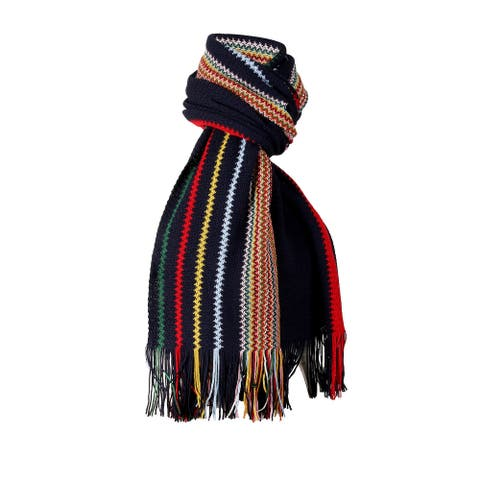 Missoni Navy Blue Crochet Knit Oversized Zigzag Fringe Scarf - 20-84-