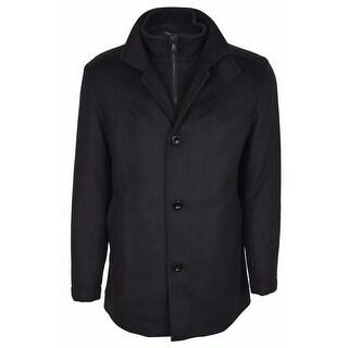 BOSS Hugo Boss Men's Black Wool Cashmere Double Collar Coat Jacket 42R