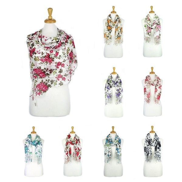 Women's Fashion Floral Soft Wraps Scarves - F1 Fuchsia - Large. Opens flyout.