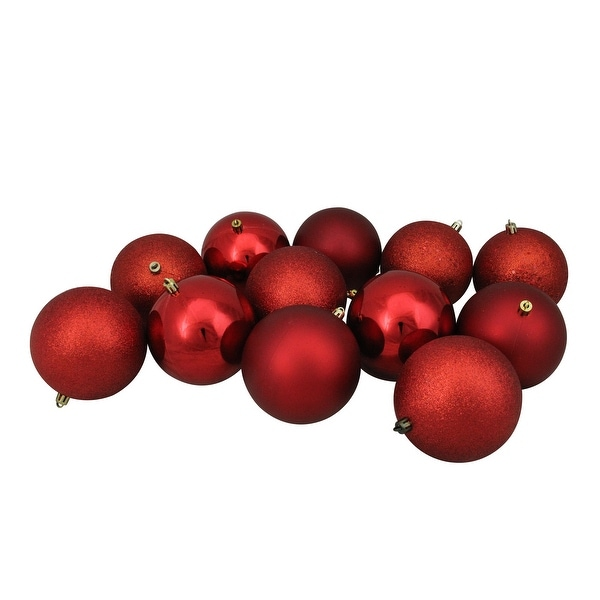 """12ct Red Hot Shatterproof 4-Finish Christmas Ball Ornaments 4"""" (100mm)"""