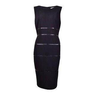 Kasper Women's Pleather-Trim Textured Sheath Dress