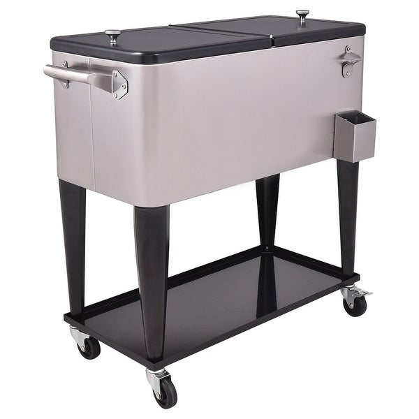 Costway Patio Cooler Rolling Outdoor Stainless Steel Ice Beverage Chest  Pool 80 Quart   Black+