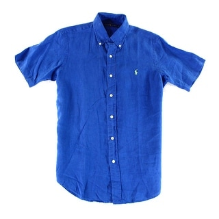 Ralph Lauren NEW Blue Mens Size Small S Woven Button Down Linen Shirt