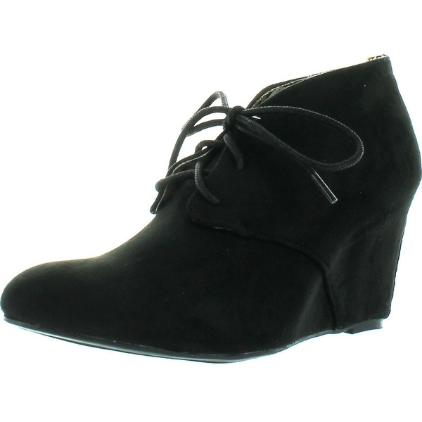 Qupid Women's Valley-01 Hidden Wedge Ankle Round Toe Lace Up Bootie