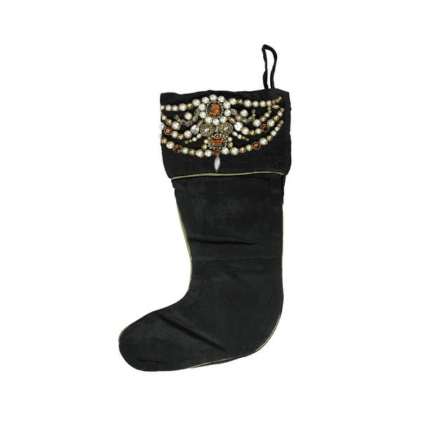 "20"" Amber and Pearl Beaded Black Velveteen Decorative Christmas Stocking"