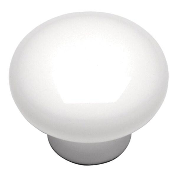 "Hickory Hardware P14630 Conquest 1-1/8"" Diameter Mushroom Cabinet Knob - White"