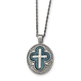 Silvertone Crystal Blue Enameled Cross Necklace - 16in