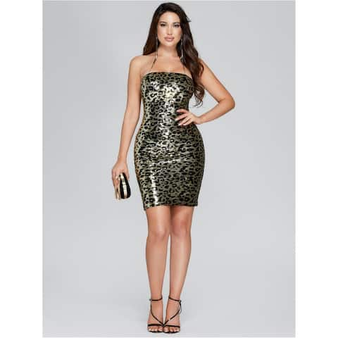 MARCIANO Womens Gold Above The Knee Body Con Evening Dress Size S