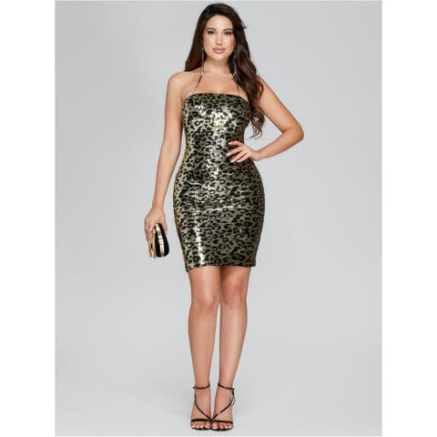 MARCIANO Womens Gold Above The Knee Body Con Evening Dress Size XS