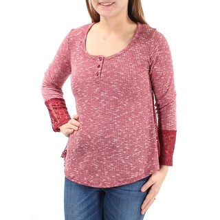 Womens Maroon Long Sleeve Jewel Neck Casual Top Size M