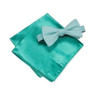 Alfani Mint Green Ludlow Geometric Bow Tie & Solid Pocket Square