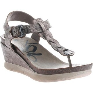 OTBT Women's Graceville Wedge Sandal Light Pewter Leather