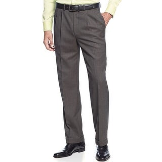 Ralph Lauren Wool Mini Check Double Pleated Dress Pants Brown 32 x 30