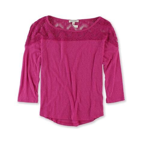 Aeropostale Womens Lace Shoulders Embellished T-Shirt