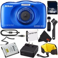 Nikon COOLPIX W100 Digital Camera (Blue) (International Model) + EN-EL19 Battery + 16GB Card + Nikon Waterproof Strap Bundle
