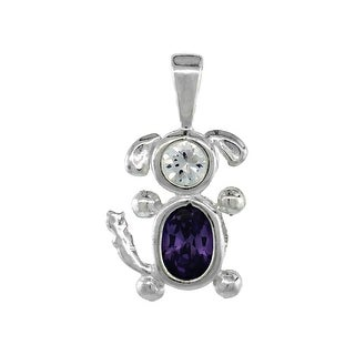 Sterling Silver Birthstone Dog Brat Charm February Amethyst Color Cubic Zirconia