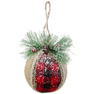 "Link to Set of 4 Red and Black Burlap and Plaid Christmas Ball Ornaments 6"" (152mm) Similar Items in Christmas Decorations"
