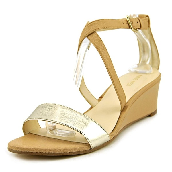 Nine West Laced Dress   Open Toe Leather  Wedge Sandal