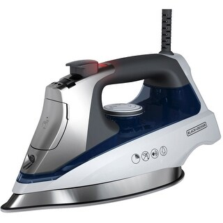 """Black & Decker D3030 Black & Decker Allure Steam Iron - Stainless Steel Sole Plate - White, Blue"""