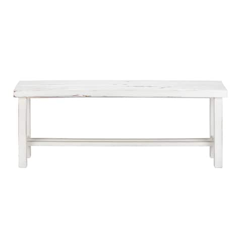 "LuxuryLivingFurniture Solid Wood 48"" Wide Loft Long Bench, White Distressed"