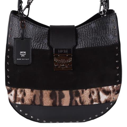 MCM Visetos Suede Leopard Print Medium Patricia Crossbody Hobo Purse Bag - Black