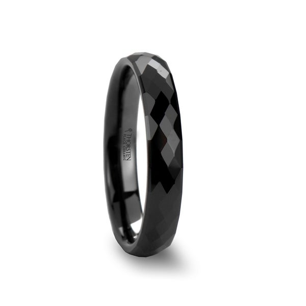 THORSTEN - DRACO 288 Diamond Faceted Black Ceramic Ring - 4mm