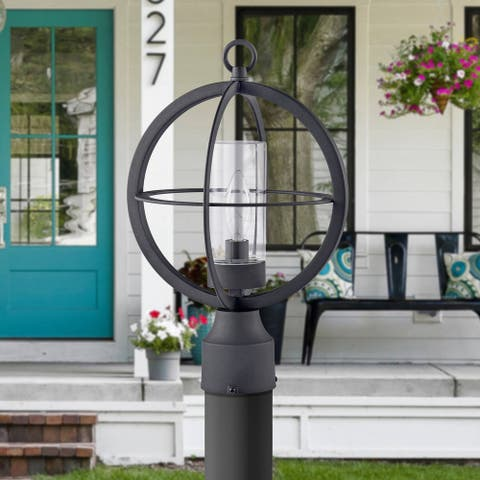 "Black 1-light 9.75"" Global Cage Outdoor Post Light"
