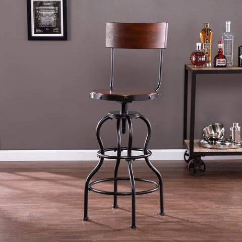 Carbon Loft Willoughby Industrial Brown Wood Bar Stool