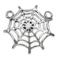 Lead-Free Pewter, Spiderweb 2 Loop Charm 23.5x24mm, 2 Pieces, Antiqued Silver