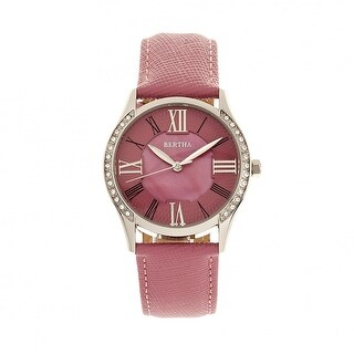 Bertha Sadie Leather-Band Watch - Pink