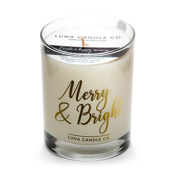 Fresh Cut Pine , Strong Scented Candle, Soy Wax- Merry & Bright