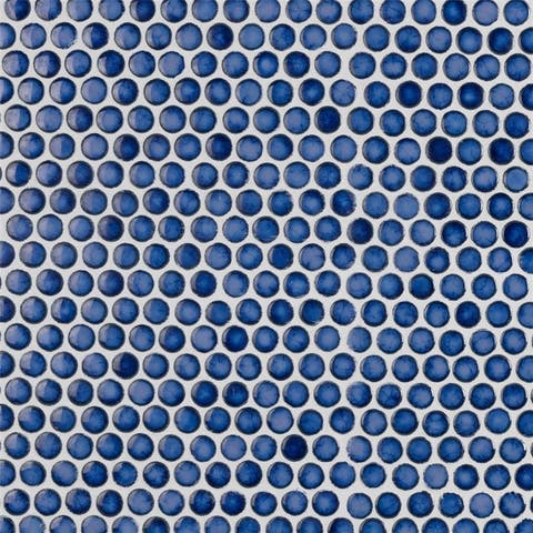SomerTile 12x12.625-inch Penny Glossy Sapphire Porcelain Mosaic Floor and Wall Tile