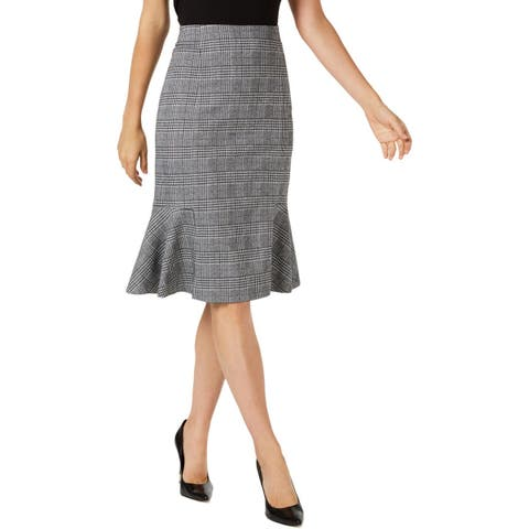 NY Collection Womens Petites Midi Skirt Printed Flare