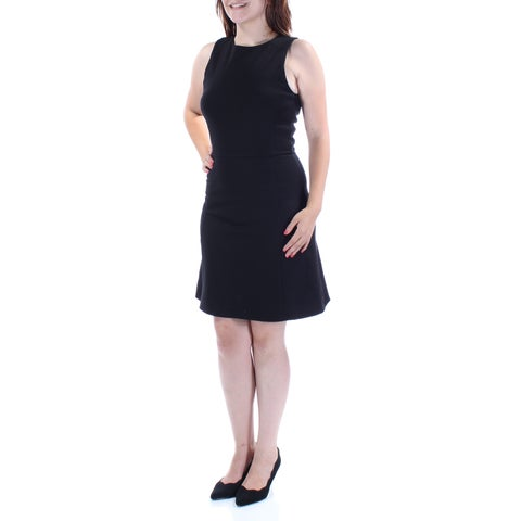 Womens Black Sleeveless Above The Knee Fit + Flare Wear To Work Dress Size: XXL