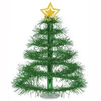 Club Pack of 12 Metallic Green Tinsel Tree with Gold Star Centerpieces 16""