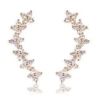 """Riah Fashion's Cubic Zirconia Crawler Earrings - 0.8"""" length"""