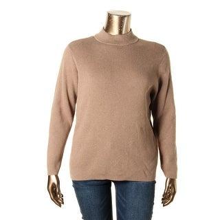 Karen Scott Womens Plus Mock Turtleneck Sweater Ribbed Knit Long Sleeve - 2x