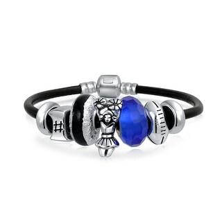 Bling Jewelry 925 Silver Sports Football Charm Bracelet Beads