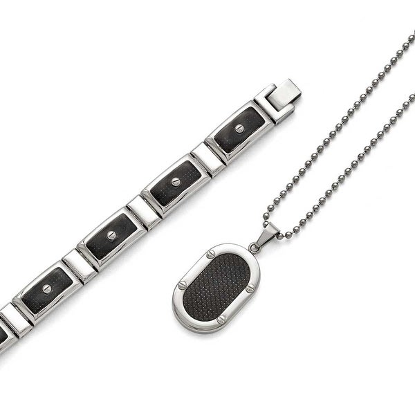Chisel Stainless Steel Polished Black Carbon Fiber Bracelet/Necklace Set