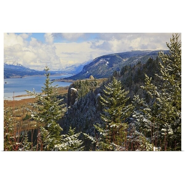 """""""Trees at the edge of the Columbia River Gorge, Oregon, USA"""" Poster Print"""