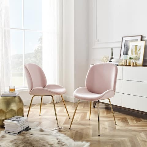 Art-Leon Beetle Design Velvet Dining Chair with Plated Golden Legs