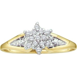 1/10Ctw Diamond Ladies Cluster Ring Yellow-Gold 10K