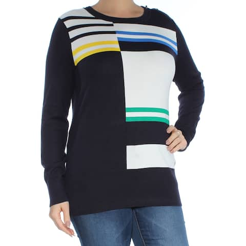 b31e5758 TOMMY HILFIGER Womens Navy Embroidered Button Detail Striped Long Sleeve Crew  Neck Tunic Top Size: