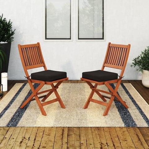 CorLiving Miramar Natural Hardwood Outdoor Folding Chairs, 2pc - N/A