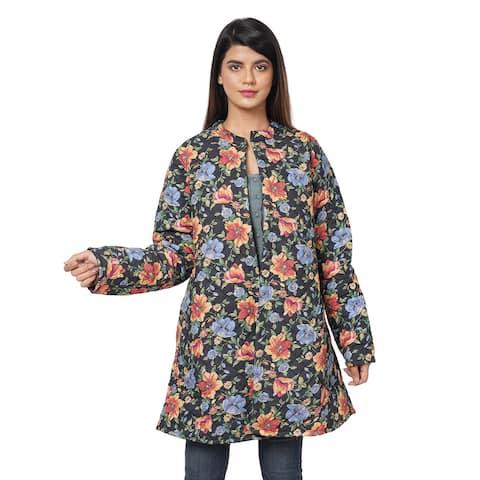PASSAGE Button Up Long Jacket-Floral Print/Reverse Side Black-L