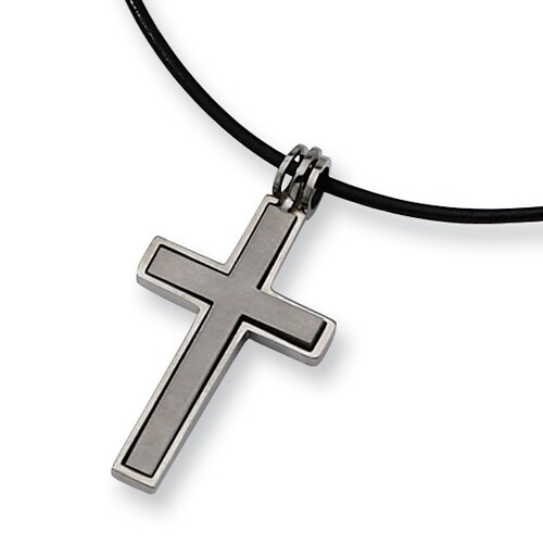 Chisel 2 Piece Brushed and Polished Titanium Cross on 18 Inch Leather Cord (2 mm) - 18 in