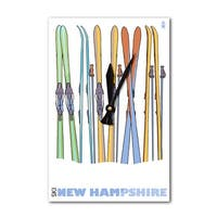 NH - Skis in Snow - LP Artwork (Acrylic Wall Clock) - acrylic wall clock