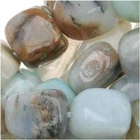 Blue Peruvian Opal Rectangle Nuggets Gemstone Beads 9-15mm - 15 Inch Strand