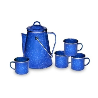 Stansport STN11230B Enamel 8-cup Coffee Pot With Percolator & Four 12-ounce Mugs