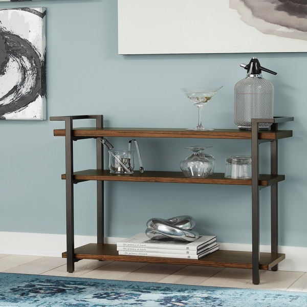 Wood and Metal 3-shelf Console Table. Opens flyout.